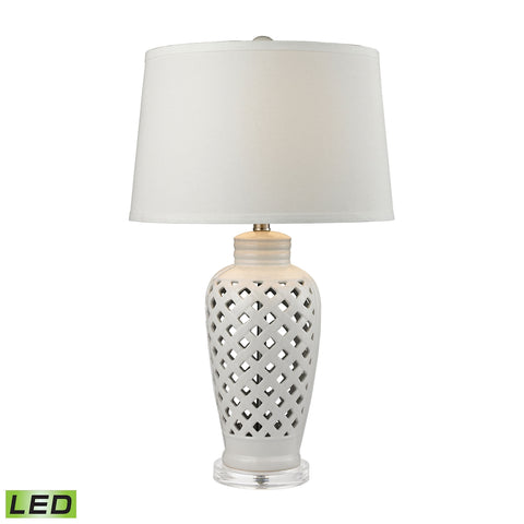 Openwork Ceramic LED Table Lamp in White With White Shade