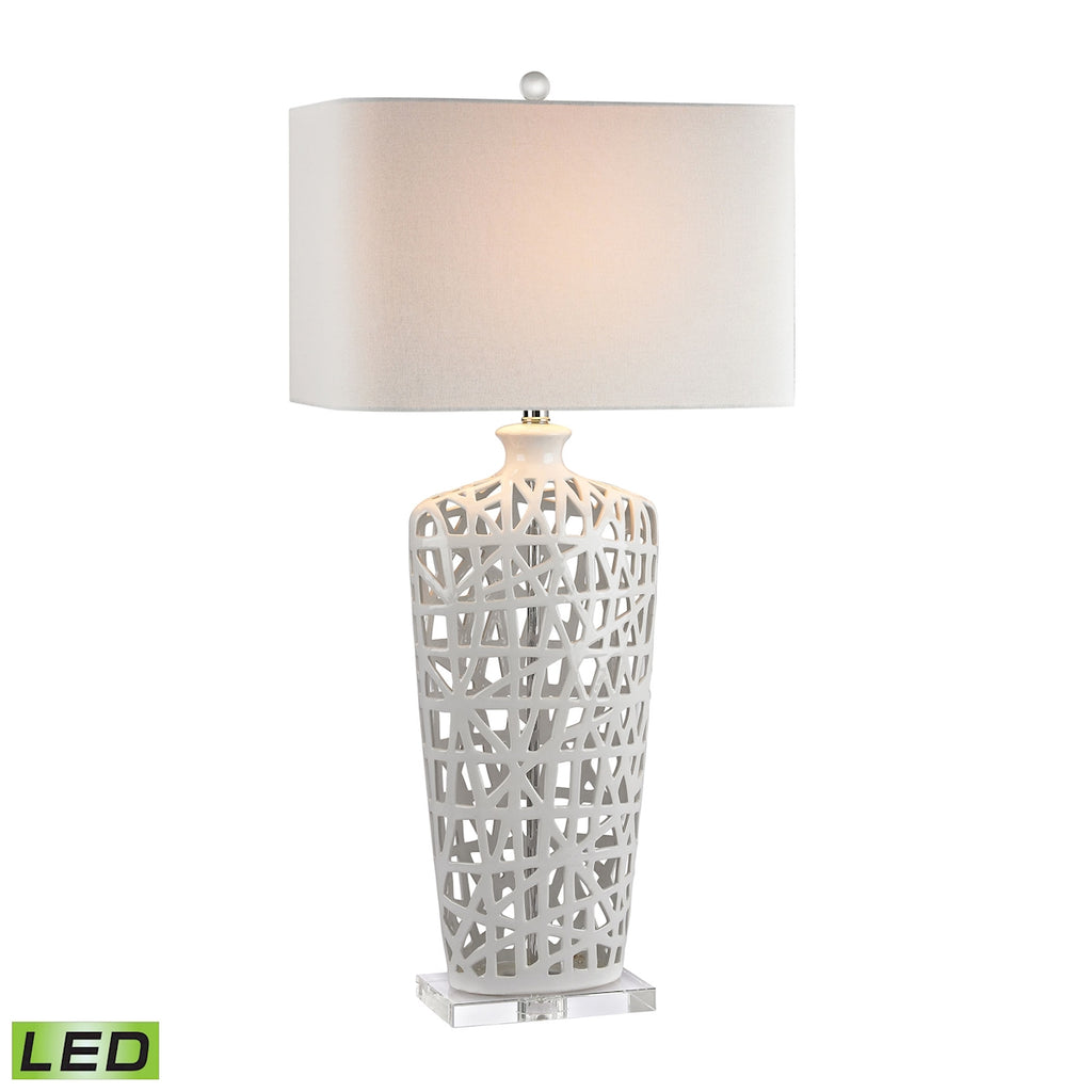 Ceramic LED Table Lamp in Gloss White And Crystal
