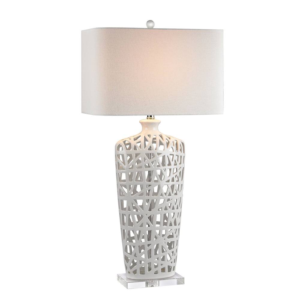 Ceramic Table Lamp in Gloss White And Crystal