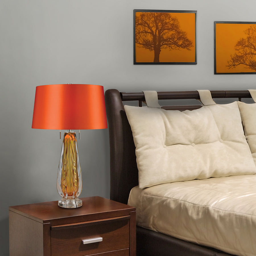 Free Blown Glass 2-Light Table Lamp in Amber