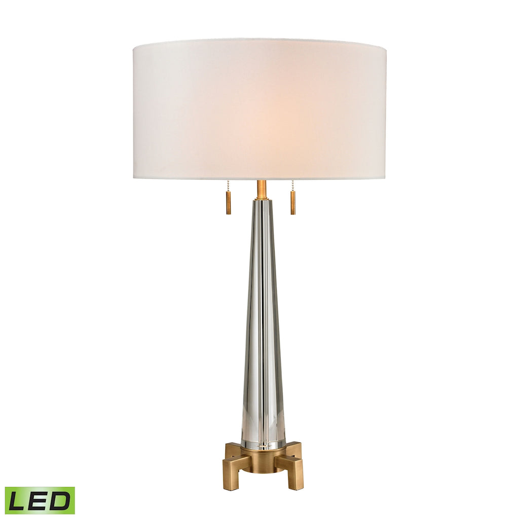 Bedford Solid Crystal LED Table Lamp in Aged Brass
