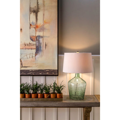 Hatteras 2-Light Table Lamp in Seabreeze Finish with Hammered Glass