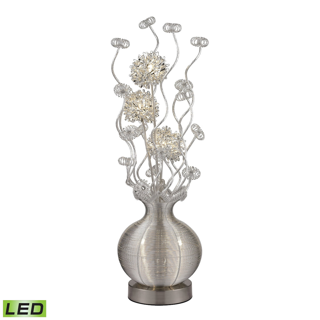 7W LED Contemporary Floral Display Floor Lamp in Silver Finish