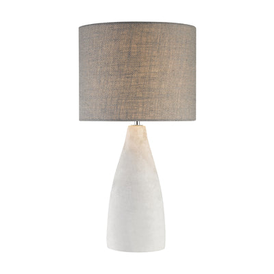 Rockport Table Lamp in Polished Concrete with Burlap Shade - Tall