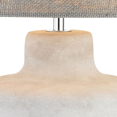 Rockport Table Lamp in Polished Concrete with Burlap Shade - Wide
