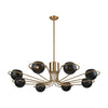 Scarab 8-Light Chandelier in New Aged Brass with Semi-Gloss Black Shades