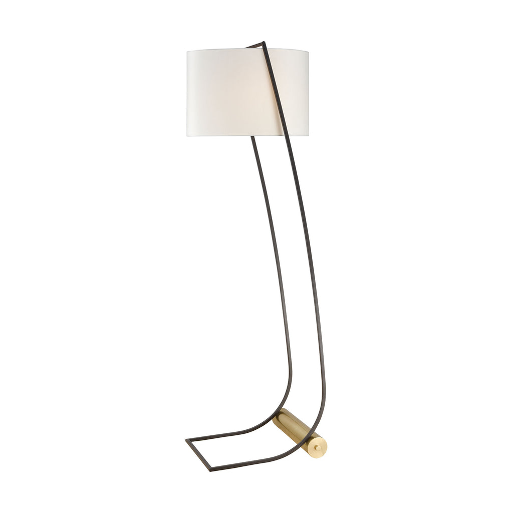 Electric Slide Floor Lamp in New Aged Brass and Oiled Bronze with White Linen Shade