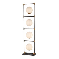 Career Ladder 4-Light Floor Lamp in Matte Black and Aged Brass