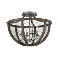 Renaissance Invention 4-Light Semi Flush in Aged Wood and Wire - Round