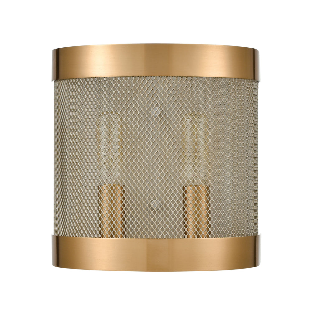 Line in the Sand 2-Light Wall Sconce in Satin Brass and Antique Silver
