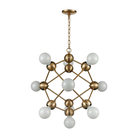 Grow from Here 10-Light Chandelier in Satin Brass