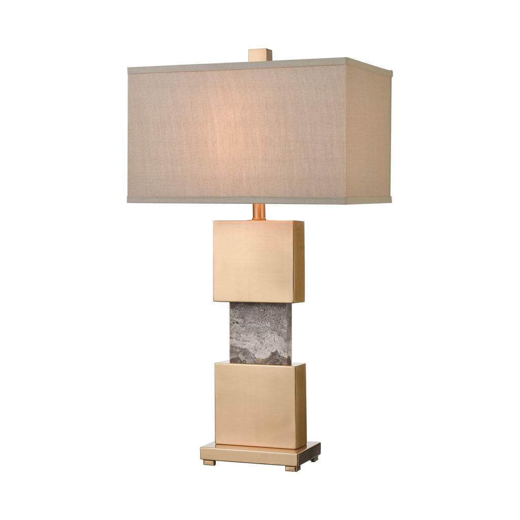Aldern Table Lamp in Cafe Bronze with a Light Taupe Shade