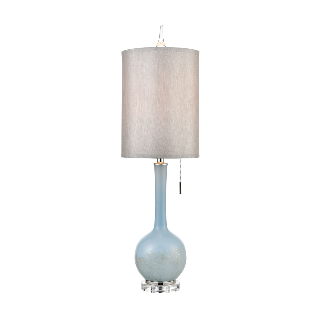 Quantum Table Lamp in Blue and Polished Nickel with a Light Grey Faux Silk Shade and Clear Crystal