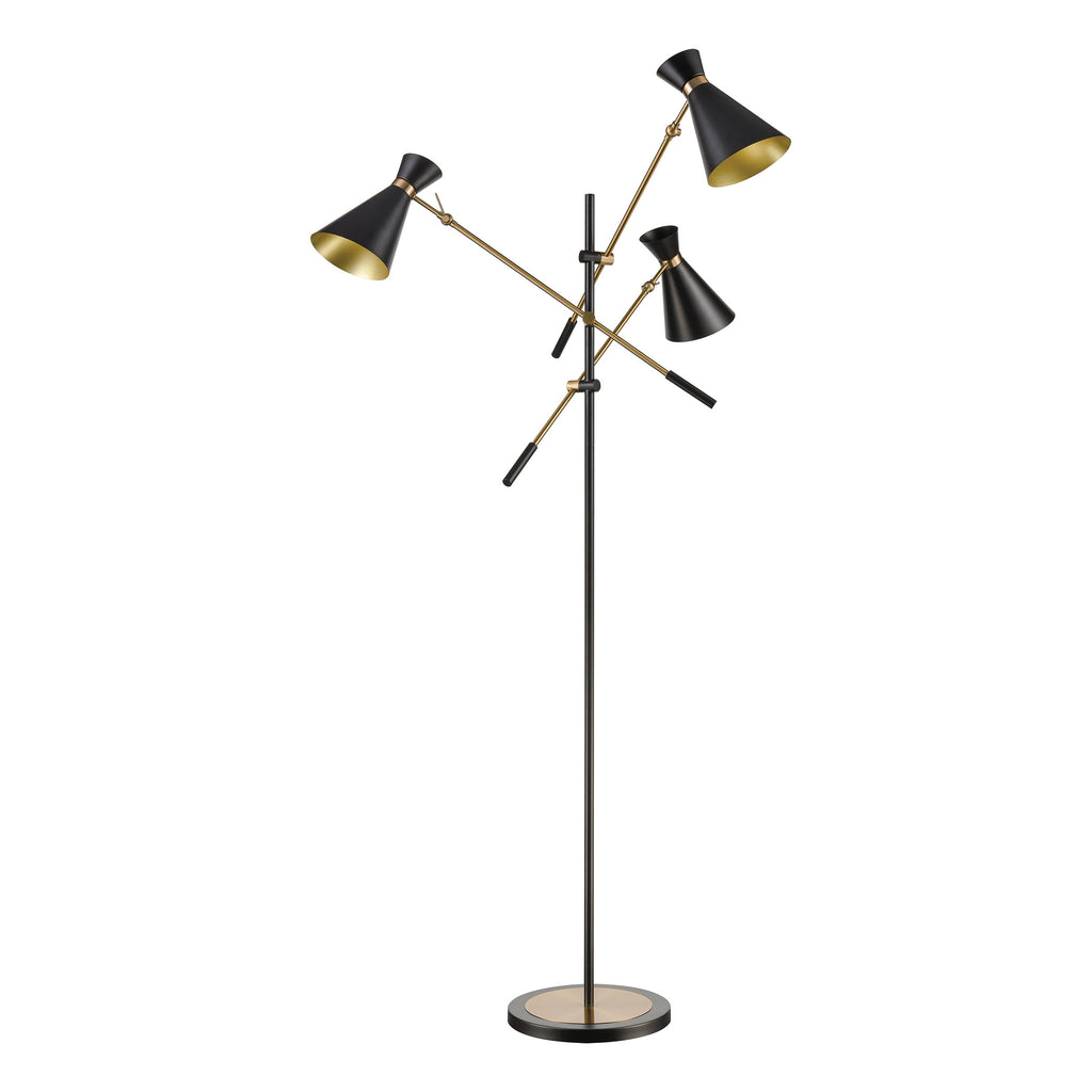Chiron 3-Light Adjustable Floor Lamp in Black and Aged Brass with Black Metal Shades