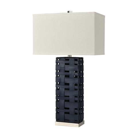 Strapped Down Table Lamp in Polished Nickel and Navy Blue with a White Linen Shade