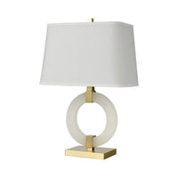 Envrion Table Lamp in Honey Brass with a White Linen Shade