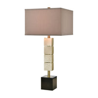 Bolster Table Lamp in Honey Brass with a Light Taupe Faux Silk Shade