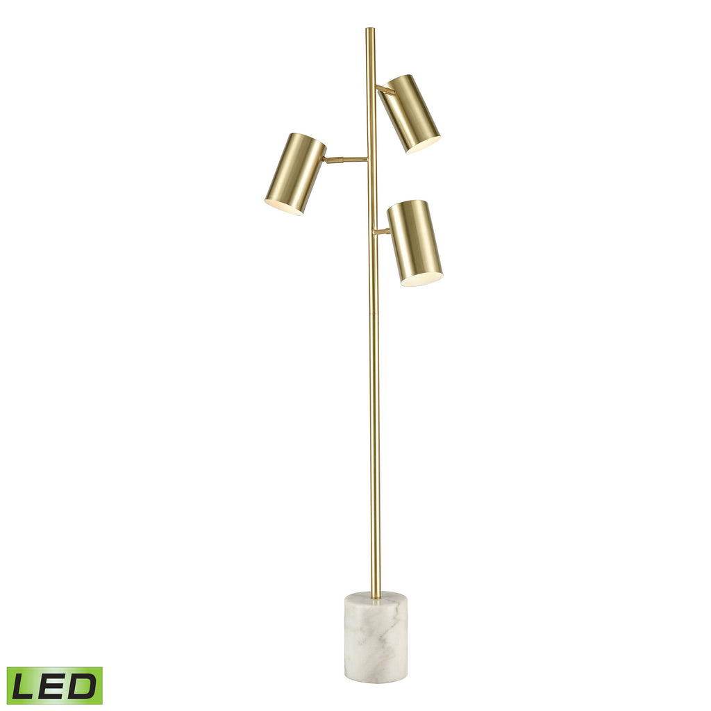 Dien 3-Light Floor Lamp in Honey Brass and White Marble with Honey Brass Cylindrical Shades