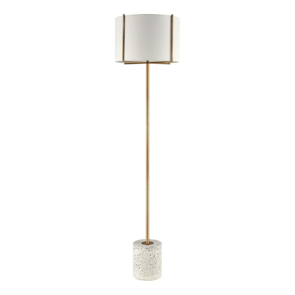 Trussed Floor Lamp in White Terazzo and Gold with a Pure White Linen Shade