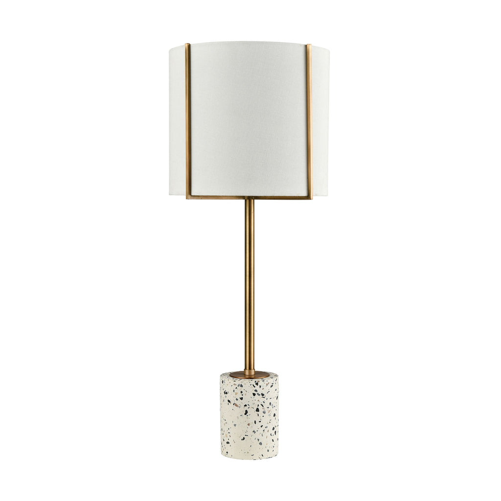 Trussed Table Lamp in White Terazzo and Gold with a Pure White Linen Shade