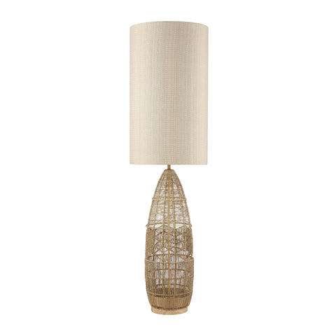 Husk Floor Lamp in Natural Rope Finish with Mushroom Linen Shade