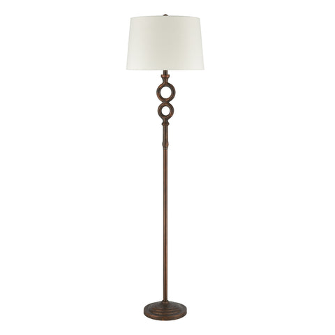 Hammered Home Floor Lamp in Bronze with a Natural Linen Shade