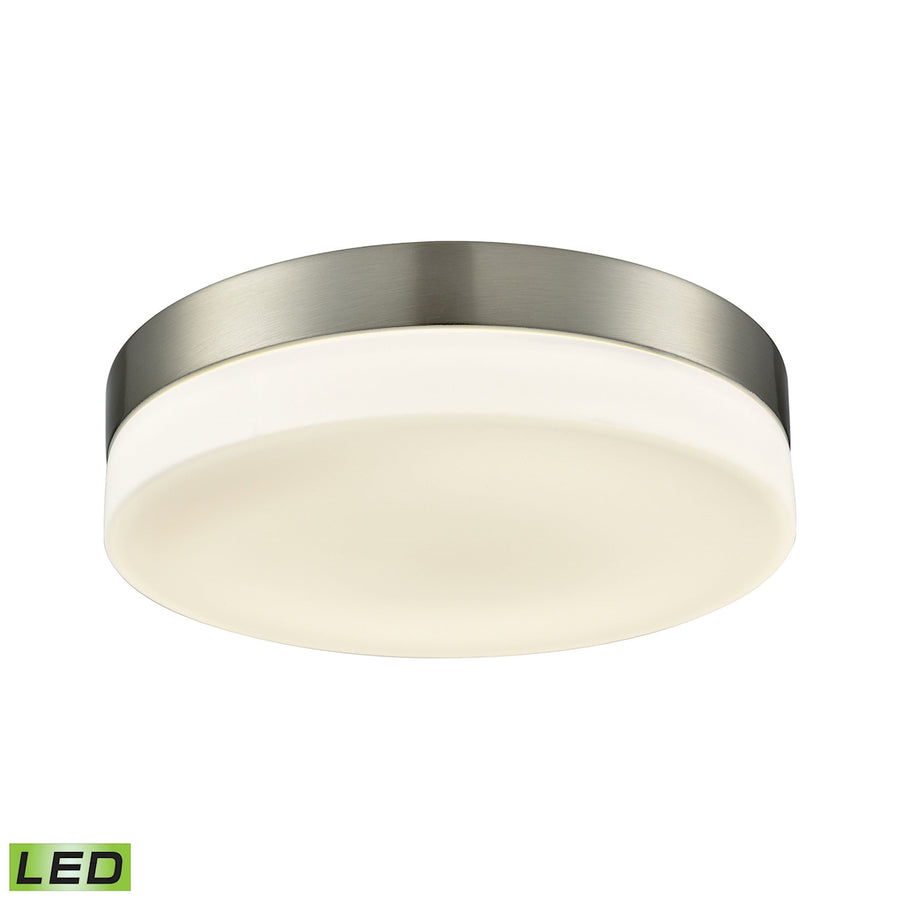 1 Light Round Flushmount in Satin Nickel with Opal Glass - Large
