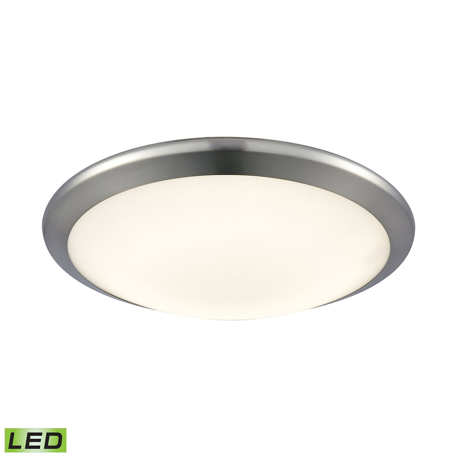 Round LED Flushmount in Chrome and Opal Glass - Small