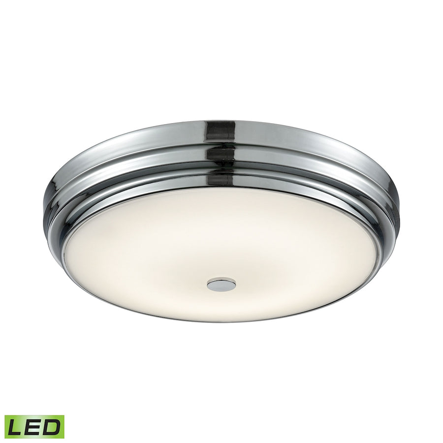 Round LED Flushmount in Chrome and Opal Glass - Large