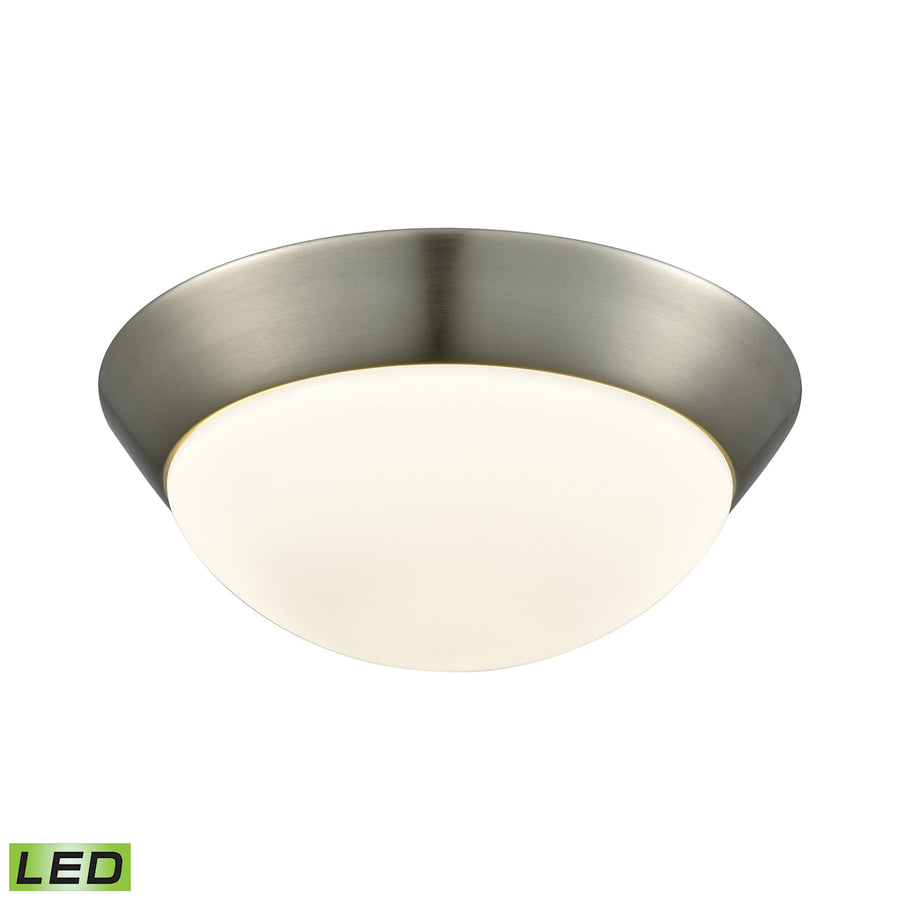 1 Light LED Flushmount in Satin Nickel and Opal Glass - Medium