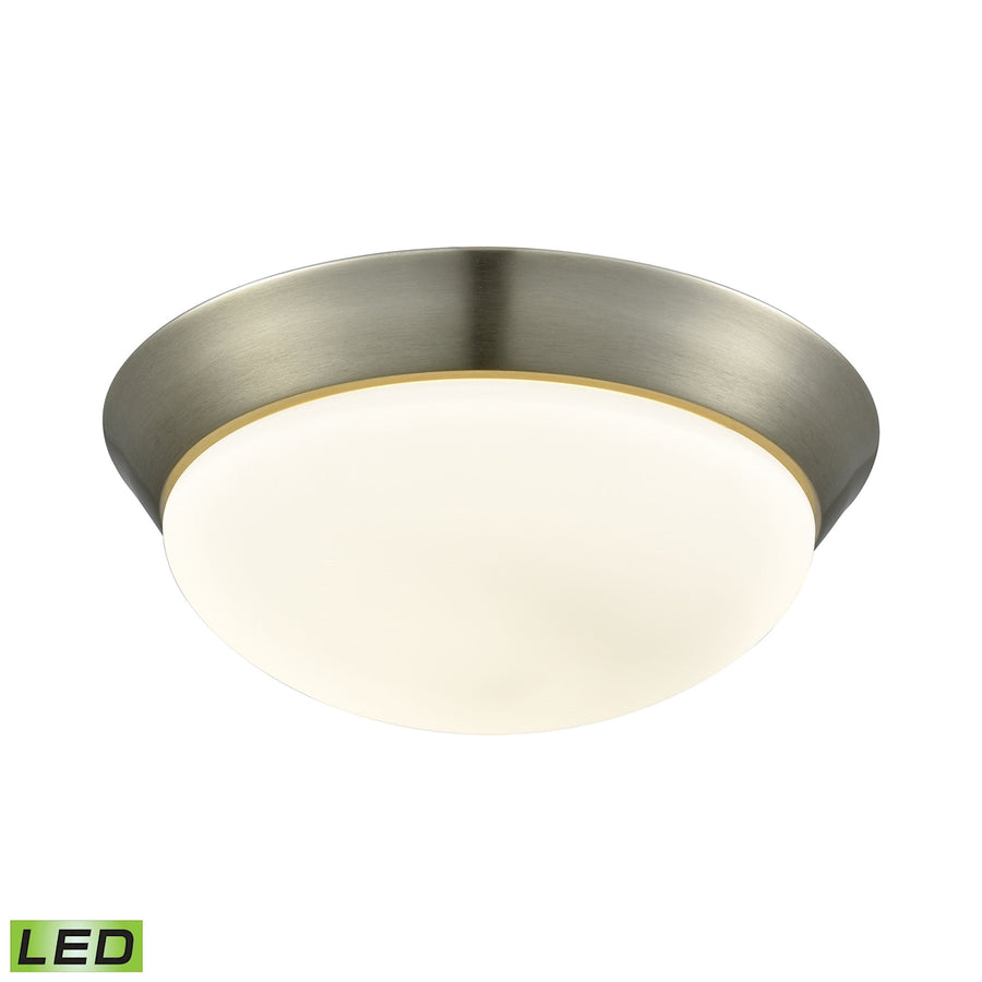 1 Light LED Flushmount in Satin Nickel and Opal Glass - Large