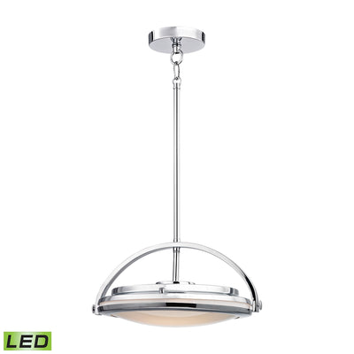 1 Light LED Pendant in Chrome and Paint White Glass