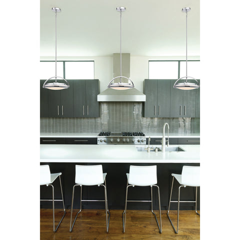 Quincy 1-Light Pendant in Chrome with White Glass Diffuser - Integrated LED