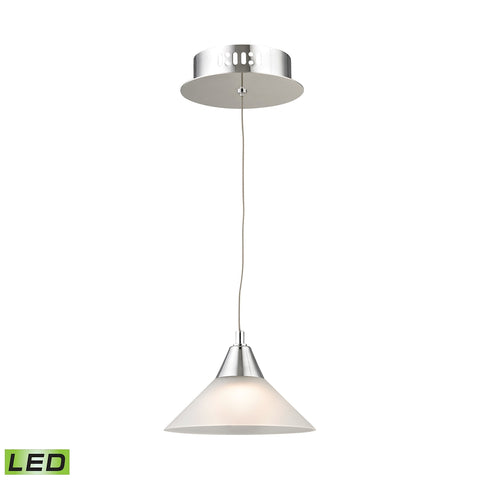Cono Single Led Pendant Complete with White Glass Shade and Holder