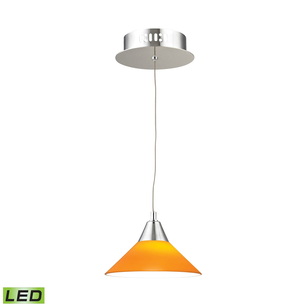 Cono Single Led Pendant Complete with Yellow Glass Shade and Holder
