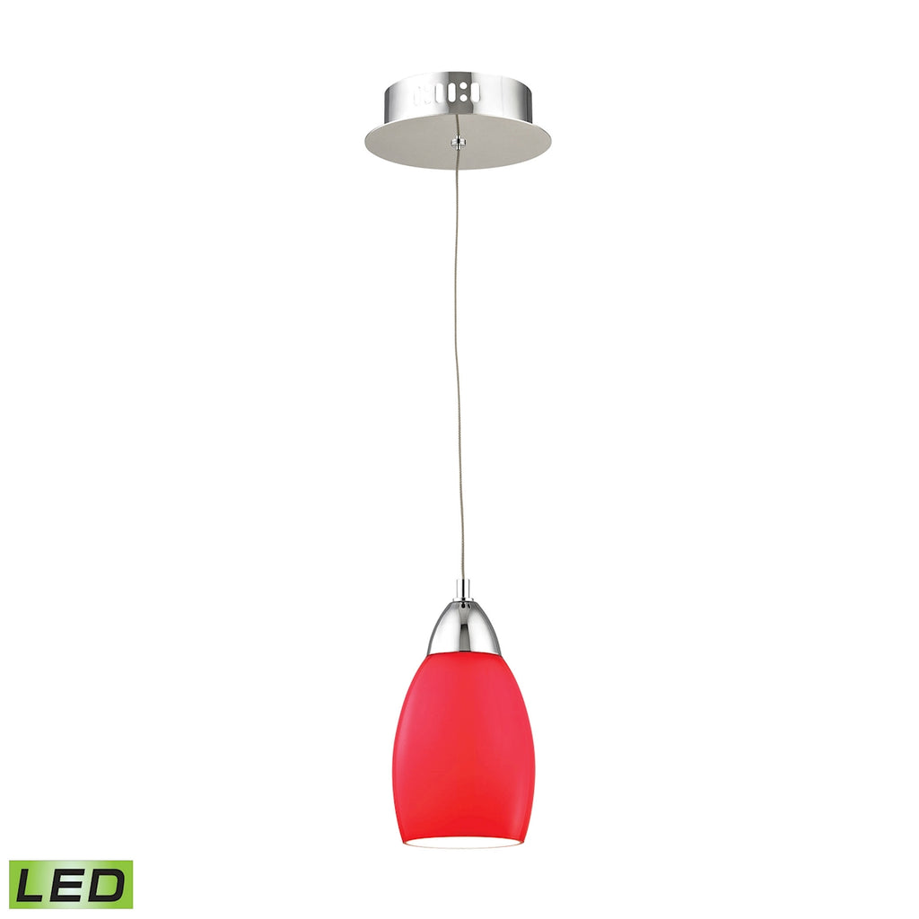 Buro Single Led Pendant Complete with Red Glass Shade and Holder