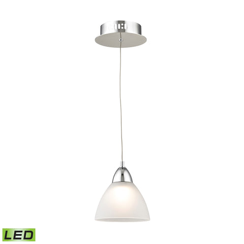 Piatto Single Led Pendant Complete with White Glass Shade and Holder