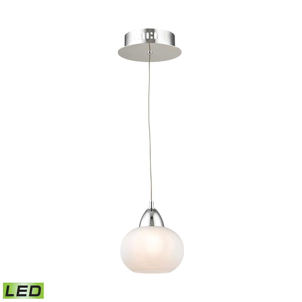 Ciotola Single Led Pendant Complete with White Glass Shade and Holder
