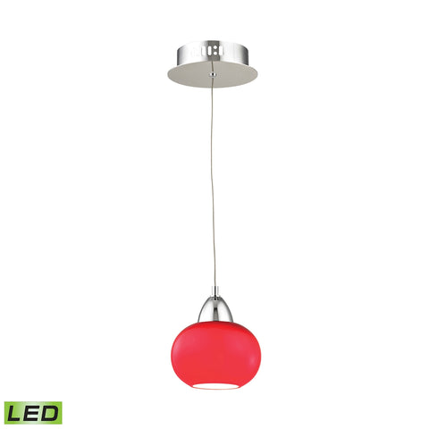 Ciotola Single Led Pendant Complete with Red Glass Shade and Holder