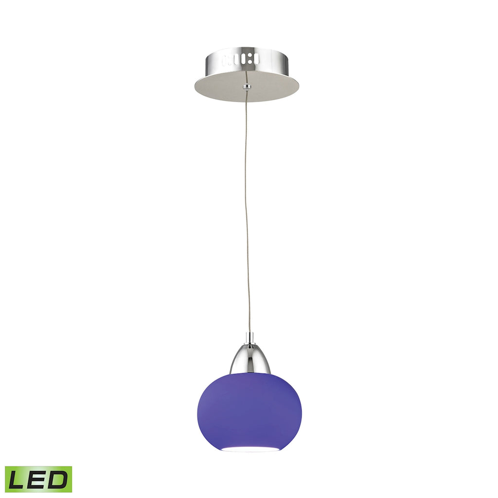 Ciotola Single Led Pendant Complete with Blue Glass Shade and Holder
