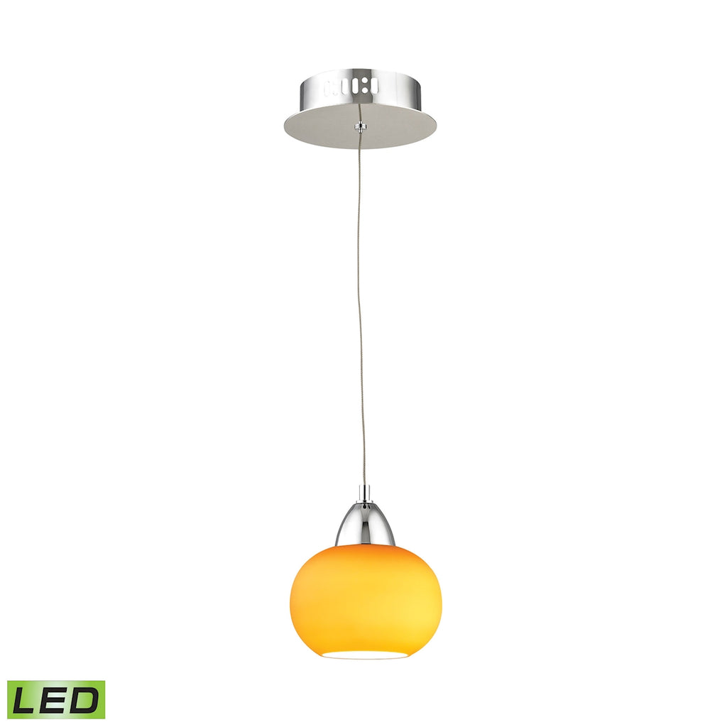 Ciotola Single Led Pendant Complete with Yellow Glass Shade and Holder