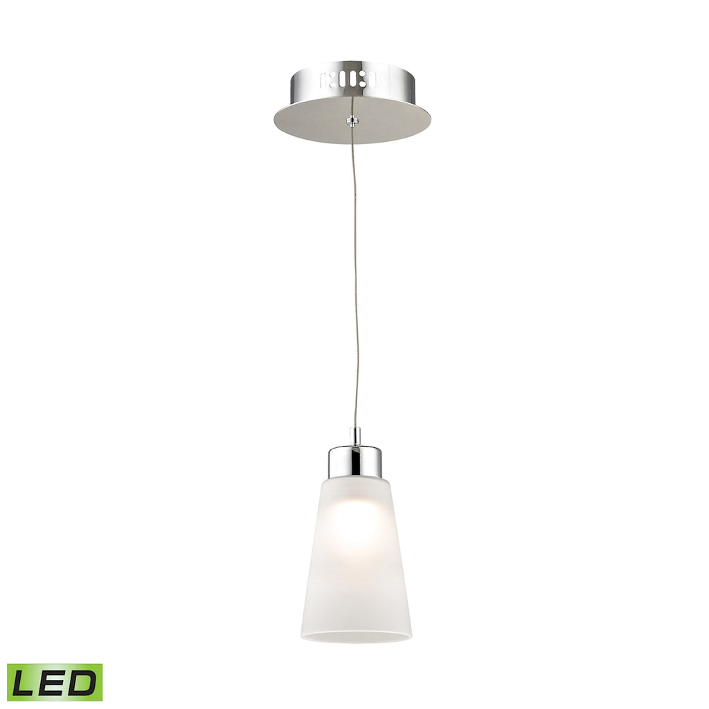 Coppa Single Led Pendant Complete with White Glass Shade and Holder