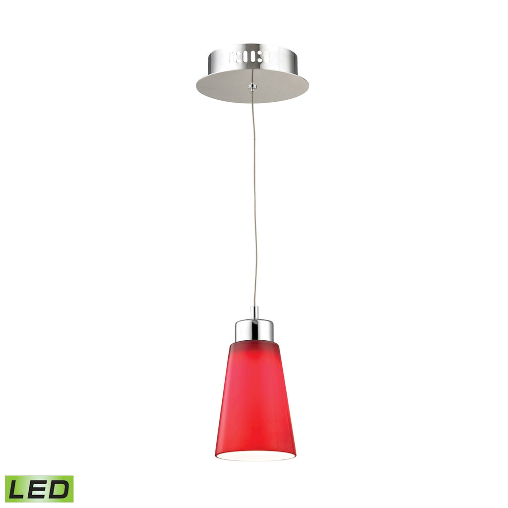 Coppa Single Led Pendant Complete with Red Glass Shade and Holder
