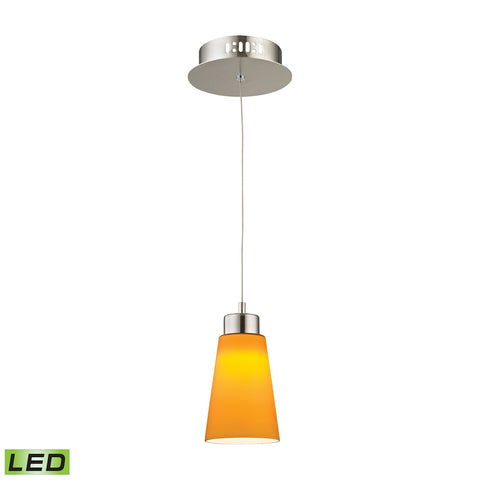 Coppa Single Led Pendant Complete with Yellow Glass Shade and Holder