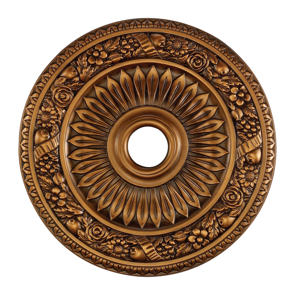 Floral Wreath Medallion 24 Inch in Antique Bronze Finish