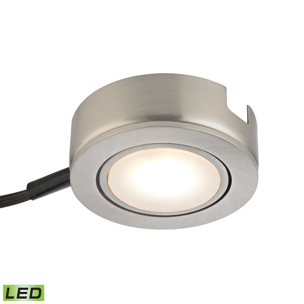 Tuxedo Swivel 1 Light LED Undercabinet Light In Satin Nickel With Power Cord And Plug