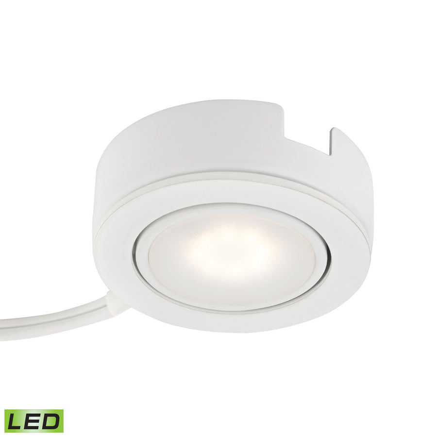 Tuxedo Swivel 1 Light LED Undercabinet Light In White With Power Cord And Plug