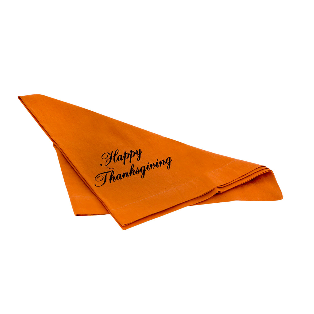 Happy Thanksgiving 20x20 Napkin in Dyed Rust Cotton Sheeting and Chocolate Brown Print