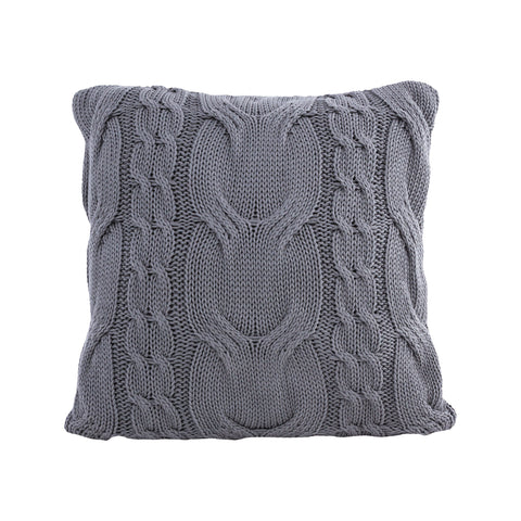 Cable Knit Natural Cotton Cushion/Pillow in Grey - COVER ONLY