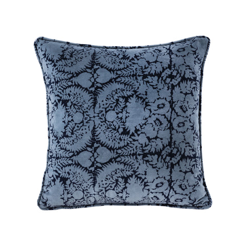 Blue Patterned 20x20 Hand-Printed Reversible Pillow in 100% Cotton Velvet - COVER ONLY